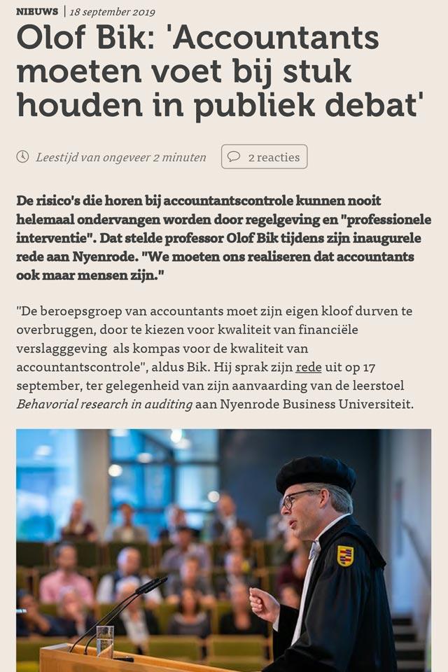 Olof Bik Accountants moeten voet bij stuk houden in publiek debat LCT