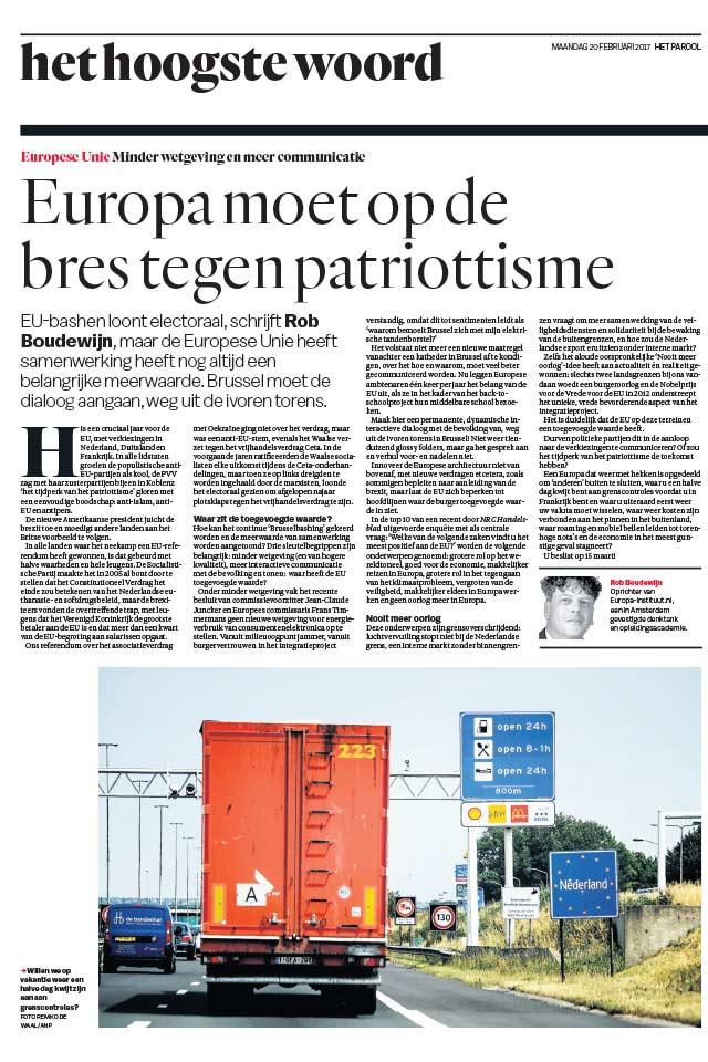 Drs Rob Boudewijn Europa moet op de bres Human Capital LCT Amsterdam